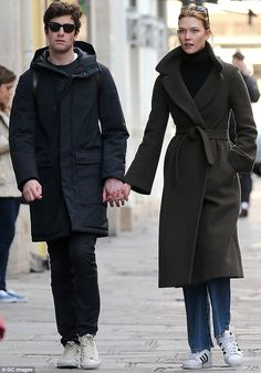 In love: Karlie Kloss and her boyfriend Joshua Kushner were spotting holding hands in Paris on Saturday
