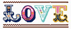 Free love needlepoint or cross stitch chart by Felicity Hall Cross Stitch Love, Cross Stitch Charts, Modern Cross Stitch Patterns, Cross Stitch Designs, Cross Stitching, Cross Stitch Embroidery, Embroidery Thread, Machine Embroidery, Alphabet