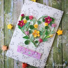 Квиллинг открытка автор Мальцева Мария quilling card