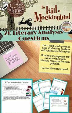 Secondary Ela, 20 Literary Analysis Questions for To Kill a Mockingbird!