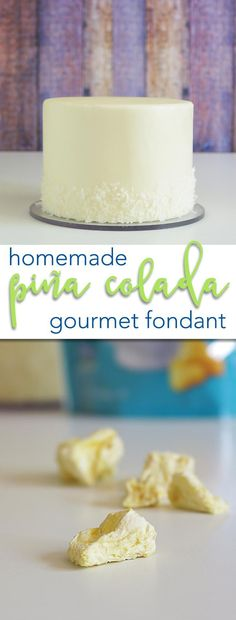 100% Homemade Pina Coloada Gourmet Fondant Recipe. This recipe is soft, creamy, rich, and the aroma will take you to a far off tropical island! This is easy and will change what you expect from homemade fondant forever! via /karascakes/