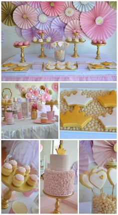 What a terrific princess girl birthday tea party! The desserts, cookies, and cakes are beautiful! See more party ideas at CatchMyParty.com.