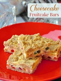 Fruitcake Cheesecake Bars - a very festive and easy cookie bar recipe with a spiced butter crumble surrounding a dried fruit cheesecake center.