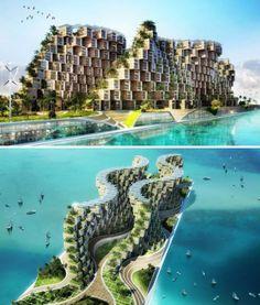 «Coral Reef» de Vincent Callebaut. Fait à partir de conteneurs usagés, ce projet, comme tous ceux de Callebaut, est écologique.