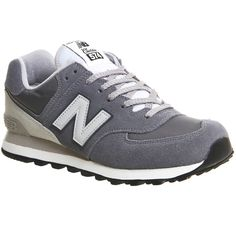 New Balance M574 Trainers (€91) ❤ liked on Polyvore featuring shoes, grey off white, trainers, unisex sports, light weight shoes, off white shoes, retro shoes, sports shoes and grey suede shoes
