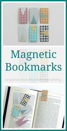 These Magnetic Bookmarks are so great! They keep your place in your book and never slip out Bookmark Craft, Homemade Bookmarks, Diy Bookmarks, Creative Bookmarks, Sewing Hacks, Sewing Tutorials, Sewing Crafts, Crafts To Make, Marque Page