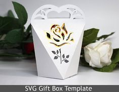 DIY SVG cutting file template Gift Box Gold Rose Valentine Day