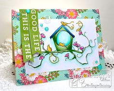 Pattern paper base with colored scene in front by ChristineCreations