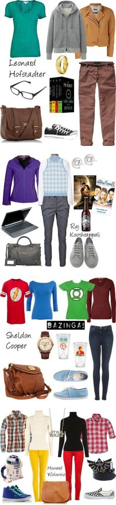 """The Big Bang Theory inspired Outfits"" I WOULD WEAR ALL OF THESE!!! But... Mainly Sheldon's.. <3 ;) @Maddy Cox"