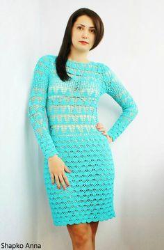 crochelinhasagulhas: Vestido azul de crochê
