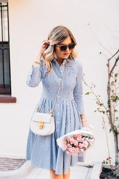 Summer outfit style, blue striped shirt dress, pink roses, pink peonies, chloe handbag, chic outfit, luxury fashion, womens fashion