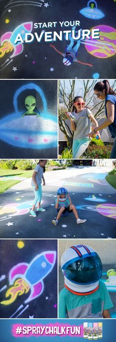 Get ready for out-of-this-world fun. With washable Testors Spray Chalk, you can create space-themed art on grass, pavement, sand or snow. It's a real blast for outdoor family fun—and when you're ready, it washes right off with water. #SprayChalkFun