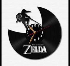 Vinyl Clock / Legend of Zelda - Vinyl Record Wall Clock / Wall Watch LP / Black Home Decoration / Wall hanging Record Clock, Record Wall, Clock Wall, Record Crafts, Wall Watch, Clock Shop, Vintage Vinyl Records, Legend Of Zelda, Black House