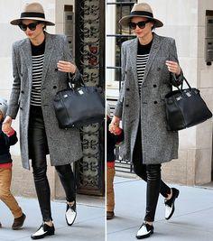Le Fashion Blog Two Ways Miranda Kerr Stripes Leather NYC Tan Fedora Hat Sunglasses Red Lipstick Black White Striped Top Tee Leather Pants B...