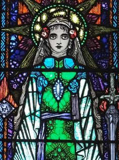 Detail of St Agnes stained glass window by Harry Clarke (1930-31)~Photograph by Rex Harris