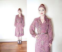 Vintage 1970s Dress Set - Purple Floral Skirt & Blouse Boho Hippie 70s - Small