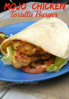 Mojo marinated Chicken burger in a new fun way ~ in a folded over Tortilla ! #MojoChicken #Burger #ChickenBurger #TortillaBurger