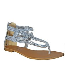 Look at this #zulilyfind! Silver Wire Leather Sandal by Bruno Menegatti #zulilyfinds