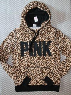NWT Victoria's Secret PINK Leopard Print Hoodie Funnel Pullover Sweatshirt M L #VictoriasSecret #Hoodie #soldout