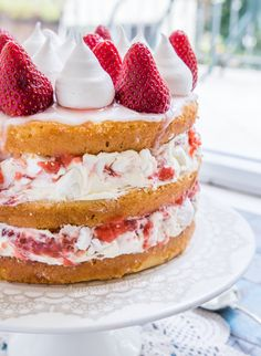 Eton Mess Cake (cake layers filled with a mix of whipped cream, crushed meringue cookies. and strawberry sauce).  Literally, crunchy, creamy, fruity..