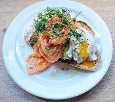 avocado, salmon and egg on toast