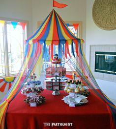 """Under The Big Top"" birthday party table decor ~ Fun Circus Birthday Theme! Clown Party, Circus Carnival Party, Circus Theme Party, Carnival Birthday Parties, First Birthday Parties, Birthday Party Themes, Carnival Tent, Birthday Ideas, Circus Wedding"