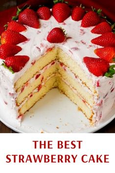 The only Strawberry Cake Recipe you will ever need! A fluffy vanilla cake is loaded with sweet strawberries and rich cream cheese whipped cream. The perfect dessert recipe for any celebration or get together. Cake The Best Strawberry Cake Recipe Best Strawberry Cake Recipe, Fresh Strawberry Cake, Strawberry Desserts, Strawberry Buttercream, Strawberry Cake Decorations, Vanilla Cake With Strawberries, Cake Decorating With Strawberries, Cake With Strawberry Filling, Strawberry Whipped Cream Cake
