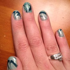 Water marble nails...attempt by myself.