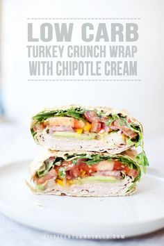 Spicy turkey and arugula crunch wrap with honey mustard – Lillie Eats and Tells Low carb turkey crunch wrap with skinny chipotle cream, pickled onions, thinly sliced pear and avocado. I've eaten this almost every day for at least six months! Cheap Clean Eating, Clean Eating Snacks, Healthy Snacks, Healthy Eating, Low Carb Wraps, Lunch Recipes, Low Carb Recipes, Healthy Recipes, Soup Recipes