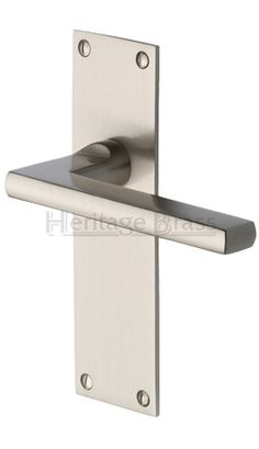 Heritage Brass U0027Trident Low Profileu0027 Door Handles On Backplates, Satin  Nickel   TRI1300