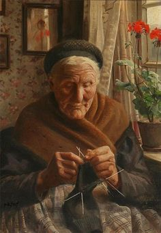 Old Woman Knitting, Peter Mork Monsted   /   A&HdM
