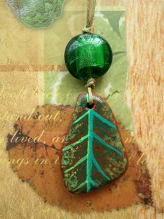leaf earthenware pendant