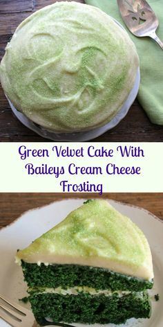 Green Velvet Cake with Baileys Cream Cheese Frosting, the perfect and delicious cake dessert recipe to celebrate St Patrick's Day. Moist, yummy and green.|anitalianinmykitchen.com