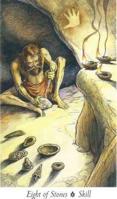 """Eight of Stones -  """"Wildwood Tarot"""" Illustrator Will Worthington, and Mark Ryan, John Matthews (Authors)."""