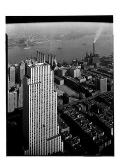 Daily News Building, NYC, NY Photo by Samuel H. Gottscho, 1932 Image via Museum of the City of New York (Print Available) View of the Daily News Building as seen from the Chrysler Building. #ArtDeco #architecture