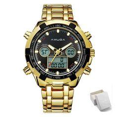 Fashion Mens Sport Watch Led Gold Big Face Qartz-Watch
