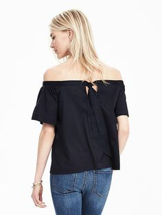 Bow-Back Off Shoulder Top | Banana Republic