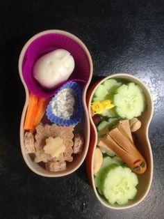 "kindergarten bento : cucumber, vegan sausage ""octopus"" / whole wheat bread, ""rabbit"" egg, carrots, cashew cream and herbs dip"
