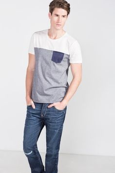 Cortefiel T-shirt with pocket Blue