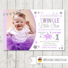 Twinkle Twinkle Little Star Personalized Birthday Party Invitation. Order yours at Boardman Printing