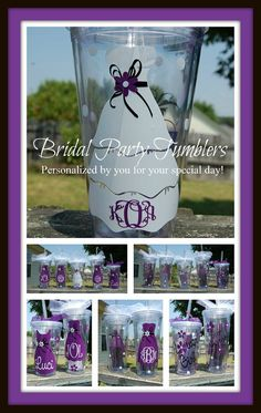 Bridal Wedding Party Gifts.  They can be personalized to your wedding colors and wedding party initials or names.  LOVE this!