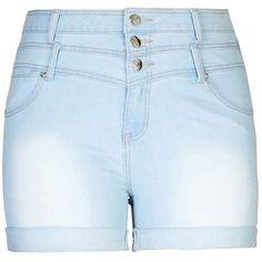 City Chic Hi Waist Short Short - Light ($42) ❤ liked on Polyvore featuring shorts, bottoms, ripped shorts, zipper shorts, short shorts, distressed shorts and torn shorts