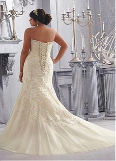 Buy discount Stunning Tulle Sweetheart Neckline Raised Waistline Mermaid Plus Size Wedding Dress With Lace Appliques & Rhinestones at Dressilyme.com