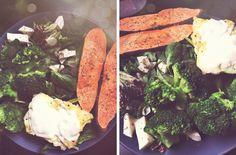 Torskfilé, mozzarella och bakad sötpotatis: Torskfilé stekt i kokosfett, citron och bladspenat. Broccoli med grönsallad och mozzarella. Sötpotatis bakad i mikron med franska örter och vitlökspulver. Så gott. Så enkelt. Så näringsrikt.  Ingredienser/portion ❥150g Torskfilé ❥160g Broccoli ❥160g Sötpotatis ❥60g Mozzarella ❥20g Babyspenat ❥1 Handfull Medelhavsmix från ICA