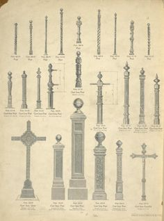 [Posts, Cast iron posts, Cast iron cross and Cast iron crucifix. Plates 504-N to 527-N.] - ID: 486901 - NYPL Digital Gallery