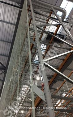Safety mesh on pallet racking Pallet Racking, Storage Design, Wire Mesh, Project Management, Shelving, Lockers, Safety, Projects, Shelves