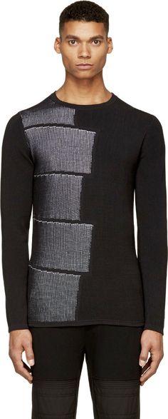 Helmut Lang: Black Double-Knit Sweater   SSENSE