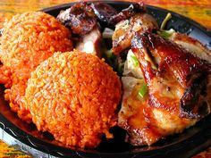 Chamorro style ribs and chicken, with two scoops of yummy red rice!