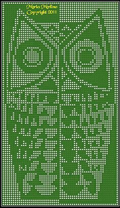 'Modern Owl' filet crochet chart by Maria Merlino. Free chart.