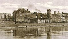 BARRIE, Ontario view of Railway Station from the Bay of Lake Simcoe old 1910